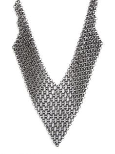 Our Hematite Mesh Bib - love the sexy, industrial vibe that this piece provides.  Pair it with something girly!