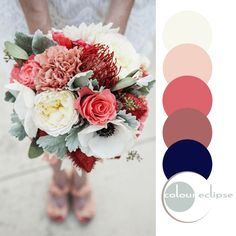 colorful bouquet with color palette, pantone dusty cedar, reddish-peach, dusty rose, creamy white, dark navy, eucalyptus green, taupe