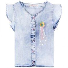 Billieblush soepel jeans blousje in lichte wassing  | Bambinotino.nl