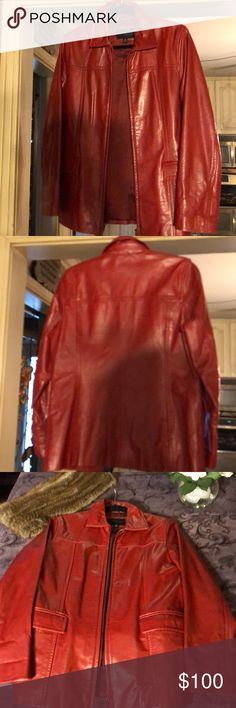 Red Leather Jacket - Express - medium Great looking red leather coat. Looks great. Always get compliments. Very good quality leather. Not cheap feeling  at all. Very very beautiful coat. You will love the leather feel and look on this jacket. Looks real expensive Express World Brand Jackets & Coats