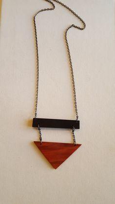 Ebony and Padauk Geometric Necklace by redheartjewelry on Etsy