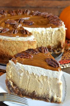 Pecan Pie Pumpkin Cheesecake Enjoy a pie and cheesecake all in one creamy delicious dessert! Holiday Desserts, Just Desserts, Delicious Desserts, Dessert Recipes, Yummy Food, Holiday Pies, Christmas Pies, Christmas Sweets, Christmas Cooking