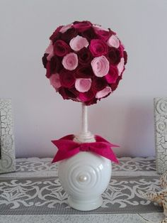 "My hand craft with felt fabric:  "" A ball with tiny roses"""