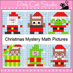 Christmas Mystery Pictures Math Worksheets: Pictures include Santa Claus, Santa Owl, Santa Frog, Cat in Present, Elf and Santa Kitty. By Pink Cat Studio