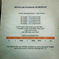 Pioneer Schedule