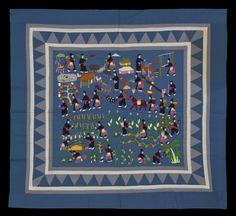 Hmong village story cloth. Made in Ban Vinai, Thailand, circa 1989.