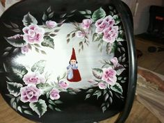 Gnome woman painted on upcycled hearthside piece - Arts by the Kickapoo