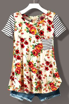 FLORAL PRINT STRIPE TEE WITH POCKET IVORY