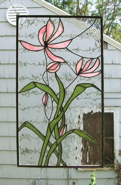 Stained Glass Window Panel--Pink Cosmos Blooming