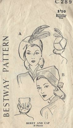 1940s WW2 Vintage Sewing Pattern BERET & CAP SIZE: 22 (1280) in Crafts, Sewing & Fabric, Sewing | eBay