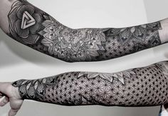 beautiful patterned full sleeve by Chaim Machlev - Design of Tattoos