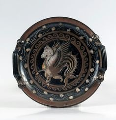 Dish with a Depiction of Hippocampus.Place of origin: Southern Italy, Apulia (Puglia)Date: ca. Ancient Rome, Ancient Greece, Ancient Art, Ancient History, Greek Pottery, Pottery Art, Sailing Greece, Minoan, Southern Italy