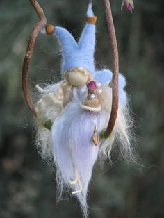 Waldorf inspired needle felted blue fairy