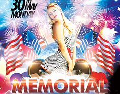 """Check out new work  """"Memorial Day PSD Flyer Template"""" #patriotic #memorial #day #event #party #fireworks"""