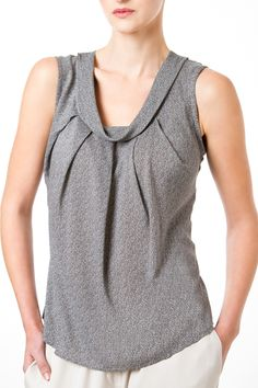 Viscose Camisole, by Tal Yefet This scoop-neck viscose top is perfect for crazy summer days. With five pleats at the front this special piece will match any day or evening look.