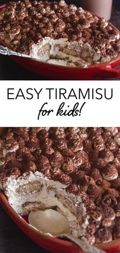 An Easy Tiramisu recipe for kids, a no-bake, delicious Italian dessert. This special version is made with every kid's (and even adults too!) favorite surprise secret ingredient. Perfect for Christmas and the holidays! #tiramisu #nocoffeetiramisu #noalcoholtiramisu #foodforkids #easydessert #dessert #Italiandessert #dessertforkids #chocolatemilk Best Dessert Recipes, Easy Desserts, Delicious Desserts, Easy Tiramisu Recipe, Family Cake, Italian Desserts, Peanut Butter Cookies, Frozen Treats, Cookie Bars