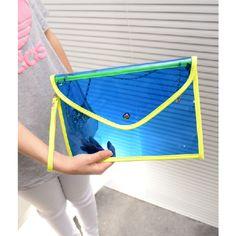 Neon Jelly Zipper Envelope Clear Wristlet Free Shipping