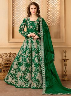 Green Taffeta Silk Long Anarkali Suit 97130