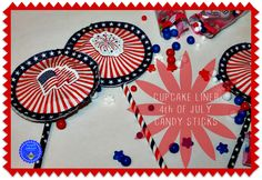 hoopla palooza: cupcake liner 4th of july candy sticks