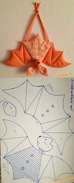 saving this because i have never seen a bat pattern. saving this because i have never seen a bat pattern. Fall Crafts, Halloween Crafts, Diy And Crafts, Sewing Stuffed Animals, Stuffed Animal Patterns, Fabric Toys, Fabric Crafts, Sewing Toys, Sewing Crafts