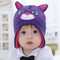 Детские и дети мальчики девочки мультфильм cat вязаная шапка флис шляпы дети новая мода зима повседневная теплые шапки дети глава носить