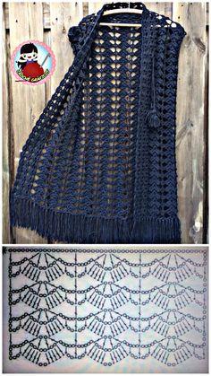 Crochet Shawl Diagram, Crochet Coat, Crochet Cardigan Pattern, Crochet Jacket, Crochet Blouse, Easy Crochet Stitches, Tunisian Crochet, Knitted Baby Clothes, Crochet Clothes