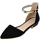 #3: Azbro Mujer Zapatos de Tacón Mini Planos Correas Tobillo con Puntera Punta
