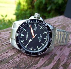 Citizen Eco Drive Submariner Watch - Scuba Diver Solar - Screw Crown NEW Submariner Watch, Solar Watch, Citizen Eco, 200m, Watches For Men, Citizen Watches, Crown, Ebay, Beautiful