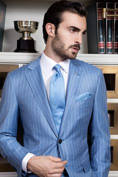 Uomo Collezioni pinstripe men's suit in blue.