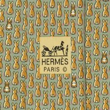 100% AUTH HERMES MENS SILK TIE XL WHIMSICAL ROWS OF RABBITS PATTERN NO 7900