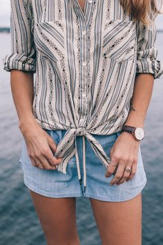 tie front blouse and chambray shorts
