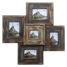 """Hanging reclaimed wood picture frame cluster with a distressed finish.  Product: Picture frame wall decor    Construction Material: Reclaimed wood and glass    Color: Distressed brown    Features: Industrial-inspired charmHeightens any décor Holds five photos of varying size  Dimensions: 28"""" H x 28.5"""" W x 2.5"""" D    Cleaning and Care: Wipe clean with damp cloth"""