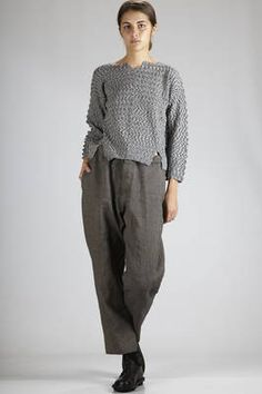 Haat | sweater in cotton mixture garter, nylon and polyurethane with horizontal zig-zag patterns | #Haat