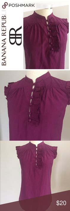 Banana Republic Silk Blouse Small Cut sleeveless pleats purple Banana Republic Blouse.  Buttons 3/4 down with pleated detailing . Preowned, clean, no stains . Check out my closet to save on bundles. Reasonable offers accepted.Small Banana Republic Tops Blouses