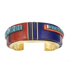 Cuff | Charles Loloma.  18k gold with  Lone Mountain turquoise, Mediterranean coral, lapis and sugilite