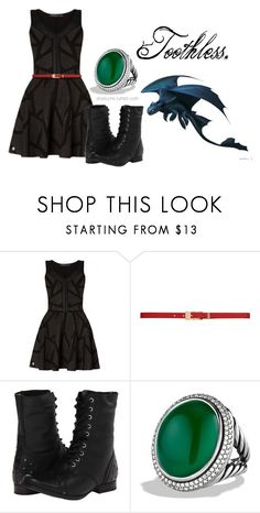 """""""Toothless inspired fashion!"""" by erfquake ❤ liked on Polyvore featuring Philipp Plein, Forever New, Naughty Monkey and David Yurman"""