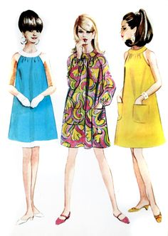 1960's Trapeze Dresses. I had this pattern! Really easy to make when I was learning to sew....
