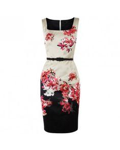 Flower Silk Print Pencil Dress