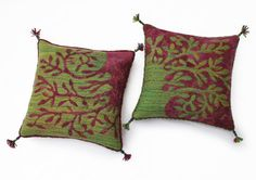 """On request, reserved for """"wacamac"""". Felted cushion with tree pattern, purple on green. 40 x 40 cm (15,75"""" x 15,75"""")."""