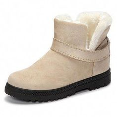 da0293fb12de US Size Fur Lining Snow Ankle Short Boots Round Toe Soft Winter Boots -  Banggood Mobile