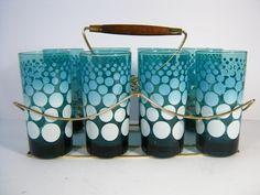 Mid Century Teal Blue Polka Dot Tumblers - Vintage Federal Glass Barware Tumblers. $52.00, via Etsy.