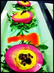 Colored Egg white Deviled Eggs! Good for Thanksgiving App....hot!