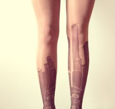 City Skyline Tattoo Tights  Free Shipping  Made to by kellyatlarge, $26.00