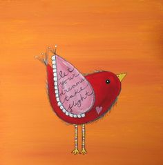 Original Bird Painting on a 12 x 12 inch Canvas NURSERY ART Let YOur Dreams Take Flight. $16.00, via Etsy.