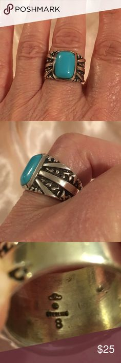 SS and Turquoise Ring. Sz 8 Turquoise Ring. Great cond. purchased on a trip to Florida and made by one of their local artisans. His personal cloud w/ initial is inside ring. Also stamped sterling. Size 8. Fairly thick band. Jewelry Rings