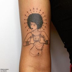 "Tati Compton | L.A. + London 100% Handpoked ""Afro goddess for Gianna."" taticompton@yahoo.com"