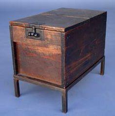 #42-135 18th c. Zennibako, cash box on hand wrought iron base. Japan - - 12.25X7.75X10.25H