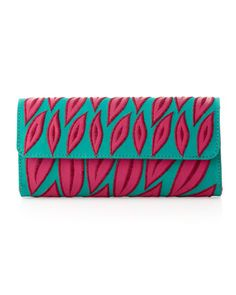 Leaf-Cutout Clutch Bag, Aqua by Nanette Lepore at Last Call by Neiman Marcus.