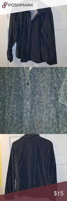 Eddie Bauer corduroy button down Bluish gray with lighter gray pattern, GUC Eddie Bauer Tops Button Down Shirts