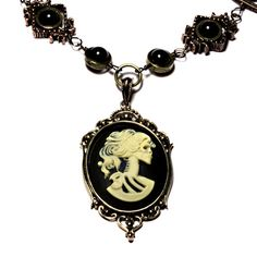 Steampunk Goth Jewelry Necklace Ivory on by CatherinetteRings, $50.00
